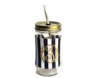 Navy Stripe Mason Jar Tumbler, Monogram Mason Jar Cup, Gifts for Her, Unique Gifts, Gifts Under 25, Monogram Gifts, Personalized Gifts
