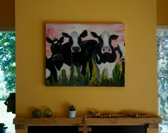 Adorable Cows!  Wall Art; Large wall art;  Home decor;  living room decor;  Dairy cow art; Cow painting;  wall decor; wall accessories