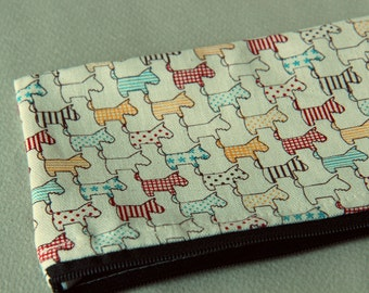 Hand printed Pencil pouch, zipper pouch, cosmetic pouch,cotton printed pouch #5