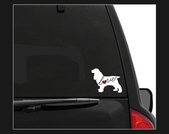 Cocker Spaniel Love: A Car Window Vinyl Decal - Laptop Sticker - Dog Breed Decals - Dog Stickers - Cooler Decal - Gift for Dog Lover