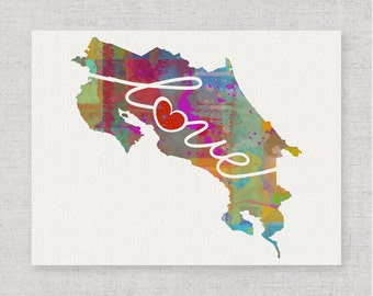 Costa Rica Love - Colorful Watercolor Style Wall Art Print & Home Country Map Artwork - Travel, Moving, Engagement, Wedding, Honeymoon Gift