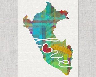 Peru Love - Colorful Watercolor Style Wall Art Print & Home Country Map Artwork - Travel, Moving, Engagement, Wedding, Honeymoon Gift