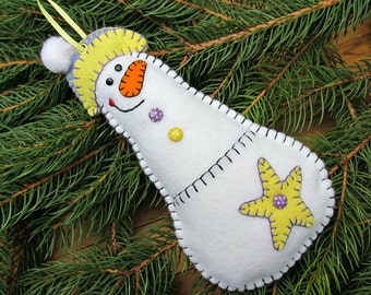Wool Felt Pocket Snowman Money Holder Ornament In Periwinkle & Yellow