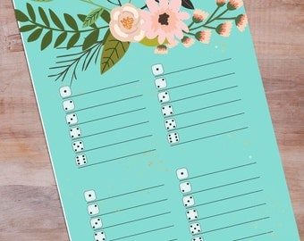 Bunco Cards, Peony Floral Print, Printable Bunco, aqua Blue , Bunco Party Printable, Bunco Ideas, Bunco Party Decor, Floral Invitations