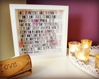 Love Framed Quotation – 1 Corinthians 13:4-8 – Wedding Gift / 1st Paper Anniversary Gift