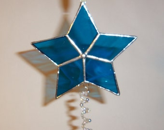 Stained Glass -Star Ornament-Christmas- Medium Blue & Silver -with Beaded Spiral Accent.