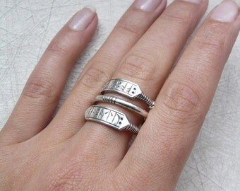 Sterling silver viking runic ring