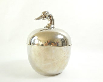 Plastic ice bucket with goose head on the lid silver color 1970