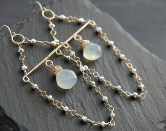 Aqua Chalcedony Earrings, Chandelier Earrings, 14K Gold Filled, Wire Wrapped, Pyrite Earrings, Gemstone Dangle Earrings, Bohemian, Wedding