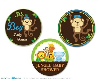Boy Jungle Candy Kisses circles Printable for Baby BoyShower DIY Lion, Giraffe , Brown Green - aa63bs20
