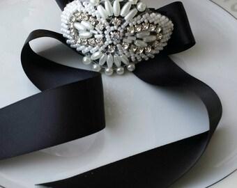 Corsage Bracelet, Black, Rhinestone Pearl Bead Applique, Prom, Wedding Bridal Wrist Cuff, Wristlet, Custom Satin Ribbon Color, Bridesmaid