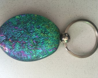 Silver plated keychain, with large dichroic cabachon.