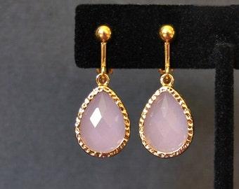 Pink Blush Earrings-Gold Clip Earrings-Small Clip Dangle Earrings-Pink Clip Earrings-Pink and Gold Clip Earrings-Gold Clip Dangle Earrings
