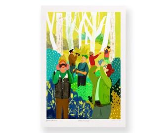 Watching You – A4 Giclée Art Print – Bird watcher illustration – bright nature print