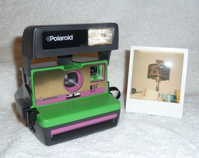 Green, Purple and Brushed Gold Front Tested Polaroid 600 OneStep With Close Up And Flash Built-In