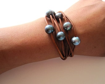 Leather and Pearl Wrap Bracelet - 7 Strand Leather Bracelet - pearl and bracelet - leather wrap bracelet - Leather and  Pearl Jewelry
