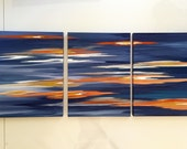 """3@ 18""""x 24""""x 2"""" each.  """"Just Before Sunset"""" Original abstract triptych by Rita Ortloff"""