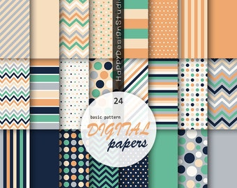Mint & coral digital paper orange navy blue gray mint green scrapbooking pattern background image graphic polka dot wedding palette color