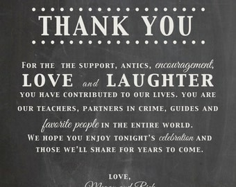 Thank You Wedding Table Sign