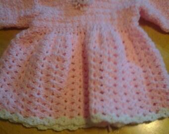 Handmade Crocheted Pink Baby Girl Spring Dress