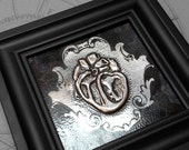 Scroll Anatomical Heart : hand embossed anatomical metal wall art