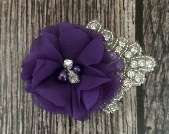 Purple hair clip, flower girl hair clip, rhinestone hair clip, flower hair clip, alligator clip, wedding clip
