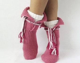 Winter socks & scarf. Valentines gifts. Women's socks Rustic wool socks Organic socks Birthday  gift Ideas.