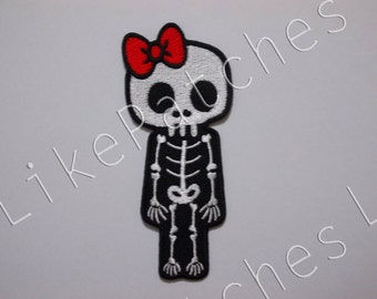 Skeleton Skull Bones Halloween Ghost Red Bow New Sew / Iron On Patch Embroidered Applique Size 4.3cm.x10cm.