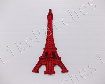 Red Eiffel Tower France Paris New Sew / Iron On Patch Embroidered Applique Size 5.8cm.x10.2cm.