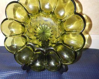 Vintage Anchor Hocking Fairfield Glass Green Egg Dish