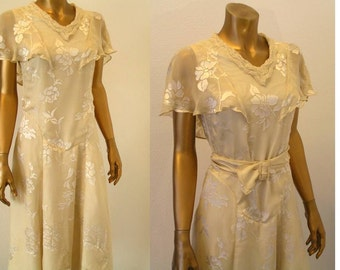 1920s 1930s Downton Abbey Burnout Silk Dress XS