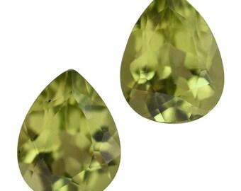 Hebei Peridot Loose Gemstones Set of 2 Pear Cut 1A Quality 6x4mm TGW 0.60 cts.
