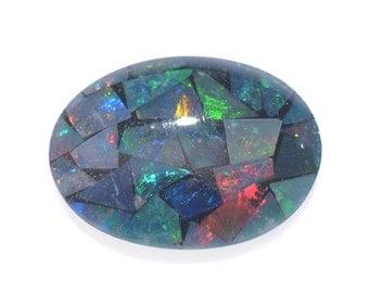 Australian Mosaic Opal Chip Triplet Oval Cabochon 1A Quality 8x6mm TGW 0.65 Cts.
