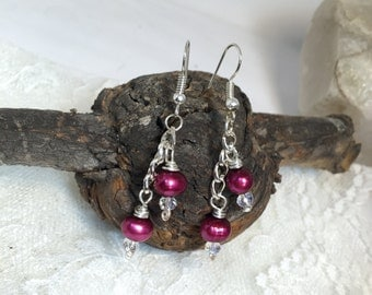 Swarovski burgudy pearl chain dangle earrings