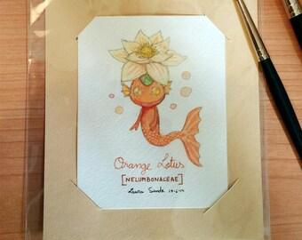 Original Watercolor / Orange Lotus