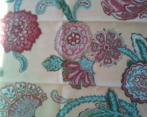 Duralee Fabric Sample 20987 Canary Carmel Summer Rose Floral Fabric Linen  USA