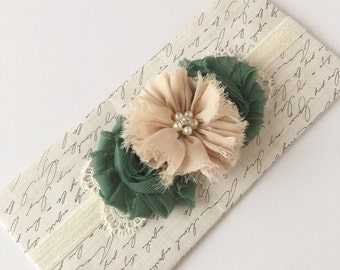Shabby Chic Flower Headband, Baby Headband, Flower Headband, Photo Prop, Vintage
