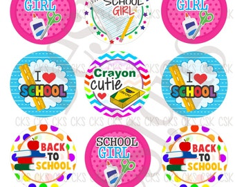 "1"" Digital Bottle Cap Sheet **INSTANT DOWNLOAD** Back To School Girl"