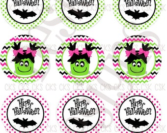 "1"" Digital Bottle Cap Sheet **INSTANT DOWNLOAD** Happy Halloween Little Monster"