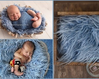 Blue Mongolian Faux Fur Baby Newborn Prop, Photography Props, similar to Flokati Wool,  Long Pile Artificial Fur Rug Basket Stuffer