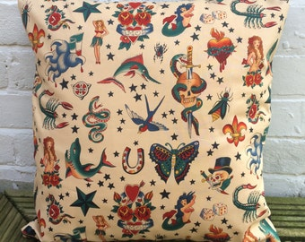 Tattoo Cushion Cover (Alexander Henry fabric)