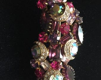 Carnival of Color! Kramer Brooch: Pink, Purple, AB, Gold Tone
