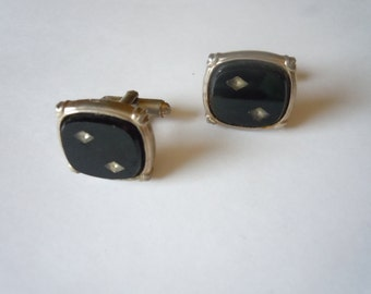 1950s Black and Gold Cuff Links