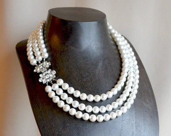 Statement multistrand pearl necklace,  pearl bridal necklace, wedding necklace, bridesmaid necklace, luxury bridal jewelry