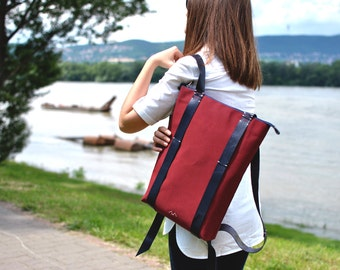 Rucksack Laptop, Canvas leather backpack, minimalist personalized bags, custom zipper daypack 202