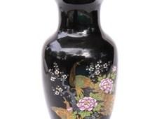 Vintage Porcelain Oriental Cobalt Blue vase, made in Japan, peacock and chrysanthemum design, gold trim, vintage Japanese china vase