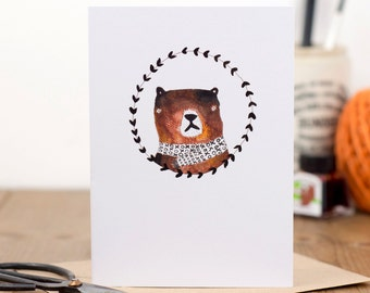 Bobby Bear Card - Blank card, Occasion card, New Baby card, Bear Illustration, Cute Bear, Brown Bear, For The Kiddos, Children's Bear