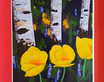PRINT Aspens and Poppies , Yellow Poppies, Art Print, Aspens, Gift Idea, Gift for Her, 8x10 in