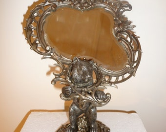 Antique Art Nouveau silver metal table mirror with bear, angel and bird – circa 1910-1920