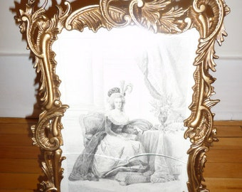 Antique Art Nouveau gilt cast iron frame with steel engraving, signed Boulet – circa 1788